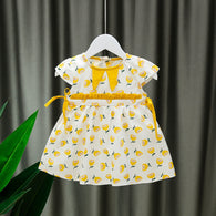 [352204-MUSTARD] - Dress Import Anak Sweet Fashion / Dress Anak Perempuan - Motif Split Fruit