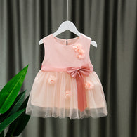 [352182-PINK] - Dress Import Anak Perempuan High Fashion - Motif Flower Ribbon Pattern