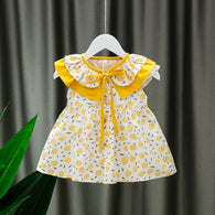 [352220-MUSTARD] - Dress Import  Anak Perempuan Kawai Style - Motif Collection of Flowers