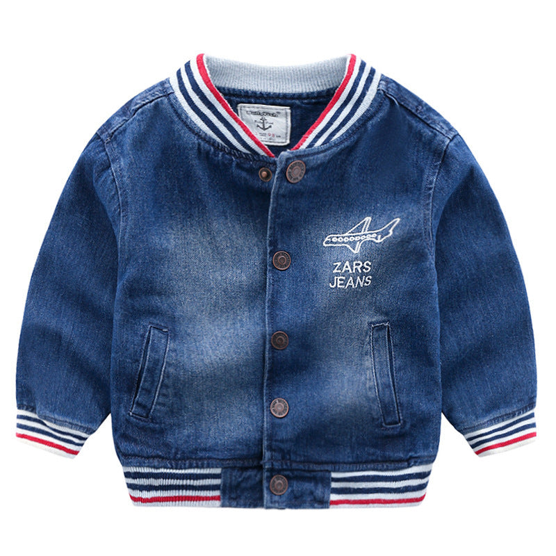 [366145] - Jaket Sweater Jeans Import Atasan Anak - Motif Airplane