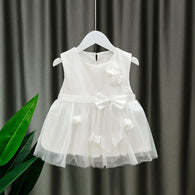 [352182-WHITE] - Dress Import Anak Perempuan High Fashion - Motif Flower Ribbon Pattern