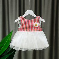 [352181-RED] - Dress Import 3D Anak Perempuan High Fashion - Motif Gingham Butterfly Wings