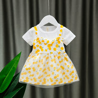 [352203-YELLOW] - Dress Import Anak Kawai Style / Dress Anak Perempuan - Motif Round Fruit