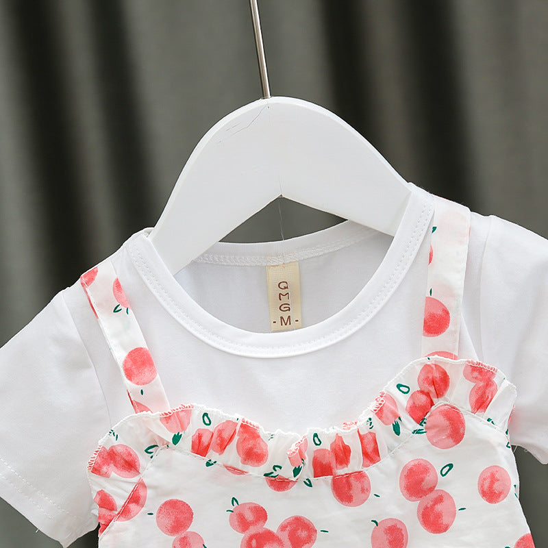 [352203-PINK] - Dress Import Anak Kawai Style / Dress Anak Perempuan - Motif Round Fruit