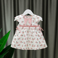 [352204-PINK] - Dress Import Anak Sweet Fashion / Dress Anak Perempuan - Motif Split Fruit
