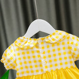 [352223-YELLOW] - Dress Import 3D Anak High Fashion - Motif Two Strawberries