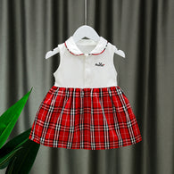 [352224-RED WHITE] - Dress Import Anak Perempuan Kawai Style - Motif Tartan Rabbit