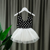 [352184-BLACK] - Dress Import Anak Perempuan Strap Dress - Motif Polkadot Pattern