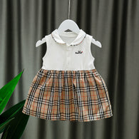 [352224-CREAM WHITE] - Dress Import Anak Perempuan Kawai Style - Motif Tartan Rabbit