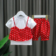 [352166-RED] - Setelan Import Anak Perempuan High Fashion - Motif Mixed Polkadot