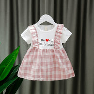 [352189-PINK WHITE] - Dress Import Anak Perempuan High Fashion - Motif Madras Hearts