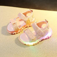 [343145-PINK] - Sepatu Sandal Lampu Anak LED Lights Import - Motif Blinking Color