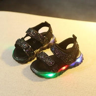 [343145-BLACK] - Sepatu Sandal Lampu Anak LED Lights Import - Motif Blinking Color