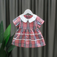 [352208-PINK DUSTY] - Dress Import Anak Perempuan Sweet Fashion - Motif Full Tartan