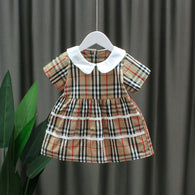 [352208-CREAM] - Dress Import Anak Perempuan Sweet Fashion - Motif Full Tartan