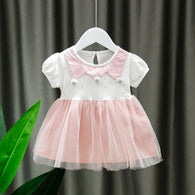 [352188-WHITE PINK] - Dress Import Anak Perempuan High Fashion - Motif Three Neck Pom