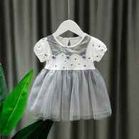 [352188-GRAY WHITE] - Dress Import Anak Perempuan High Fashion - Motif Three Neck Pom