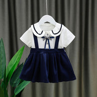 [352210-NAVY] - Dress Import Anak Perempuan Kawai Style - Motif School Pattern