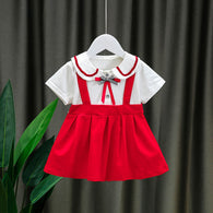 [352210-RED] - Dress Import Anak Perempuan Kawai Style - Motif School Pattern