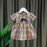 [352209-CREAM] - Dress Import Anak Perempuan Sweet Fashion - Motif Full Tartan Ribbon