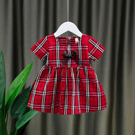 [352209-RED] - Dress Import Anak Perempuan Sweet Fashion - Motif Full Tartan Ribbon