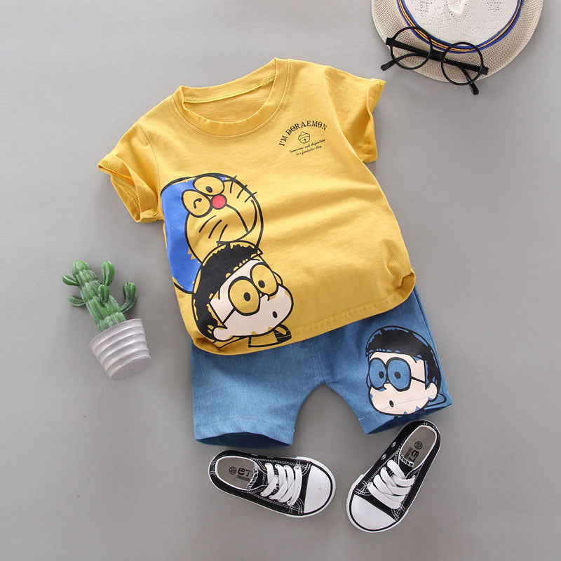 [368154-YELLOW] - Setelan Jalan Anak Fashionable Import - Motif I'm Doraemon