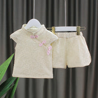 [352231-CREAM] - Setelan Import Anak Perempuan High Fashion - Motif Shanghai Full Pattern