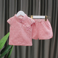 [352231-PINK] - Setelan Import Anak Perempuan High Fashion - Motif Shanghai Full Pattern