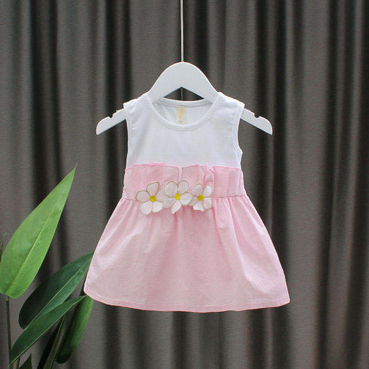 [352228-WHITE PINK] - Dress Import Anak High Fashion - Motif Waist Flower