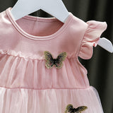 [352233-PINK] - Dress Import Anak / Dress Anak Perempuan - Motif Embossed Butterfly