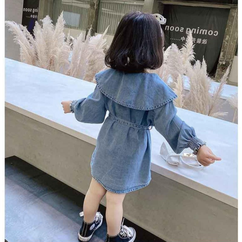 [507186] - Dress Fashion Anak Perempuan Import - Motif Denim Fashion