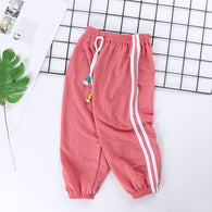 [227186-RED] - Celana Training Jogger Anak Sporty - Motif Color Striped
