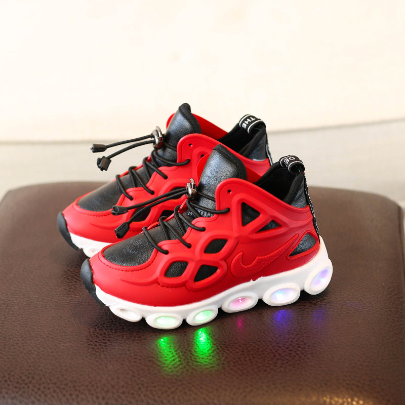 [341102-RED] - IMPORT Sepatu Kets Anak Lampu Sports Unisex - Motif Color Solid