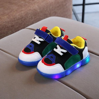 [343106-BLACK GREEN BLUE] - IMPORT Sepatu Light Sport Anak Unisex - Motif Strappy Adhesive