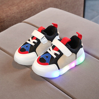 [343106-RED WHITE] - IMPORT Sepatu Light Sport Anak Unisex - Motif Strappy Adhesive