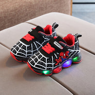 [343120-BLACK] - IMPORT Sepatu Lampu Sports Anak - Motif Spiderman Nets