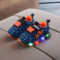 [343120-BLUE BLACK] - IMPORT Sepatu Lampu Sports Anak - Motif Spiderman Nets