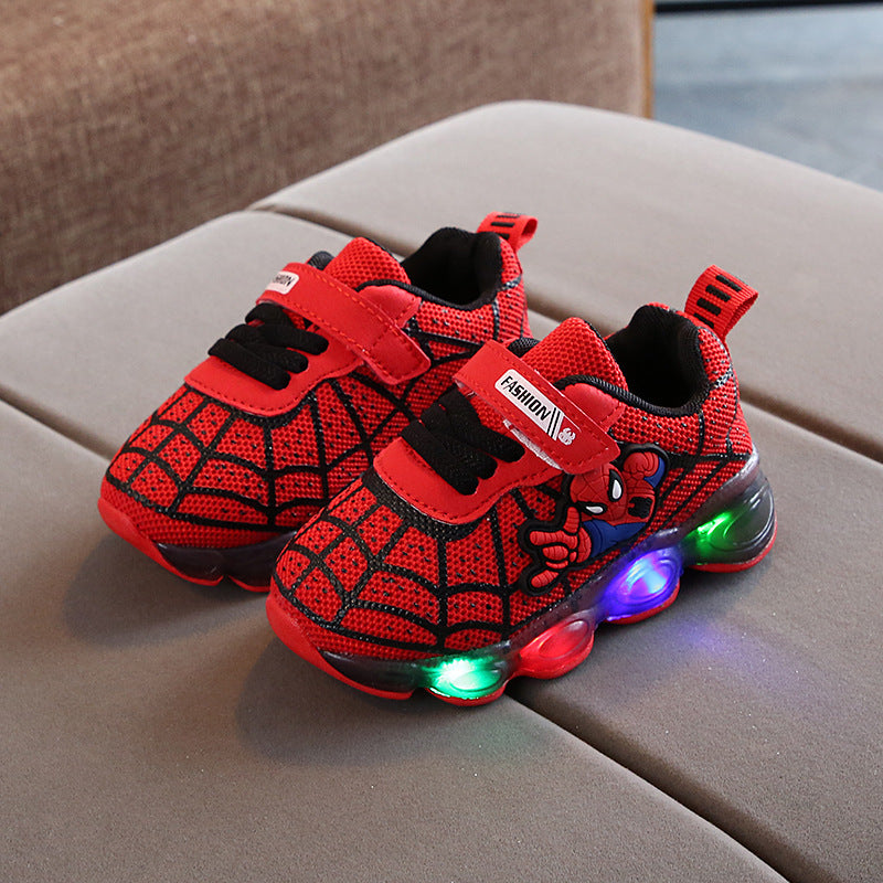 [343120-RED] - IMPORT Sepatu Lampu Sports Anak - Motif Spiderman Nets