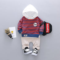 [345104-BRICK ORANGE] - IMPORT Setelan Hypes Hoodiee Anak Kekinian - Motif Striped Color