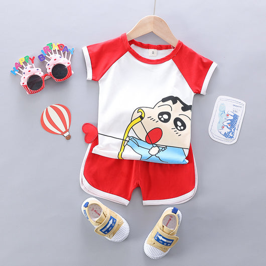 [345217-RED WHITE] - Import Baju Setelan Daily 3D Anak - Motif Sinchan Archery