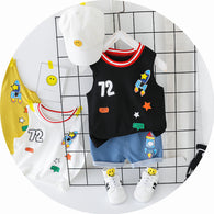 jual [349117] - Setelan Summer Anak / Summer Set Anak / Home Suit Anak - Motif Rocket Cool