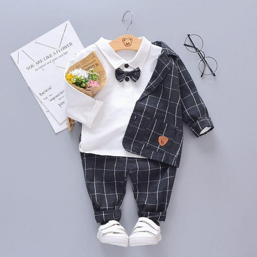[350111-BLACK] - Setelan 3 in 1 Formal Anak / Setelan 3 in 1 Anak Formal - Motif Normal Windowpane