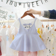 jual [352107-BLUE] - Dress Anak Perempuan Modish - Motif Animal Face Ribbons