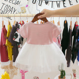 jual [352116-PINK] - Dress Renda Anak Perempuan Modish - Motif Color Stripe