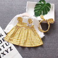 [352136-YELLOW] - Dress Renda Anak Perempuan Kekinian - Motif Ribbon Headbands