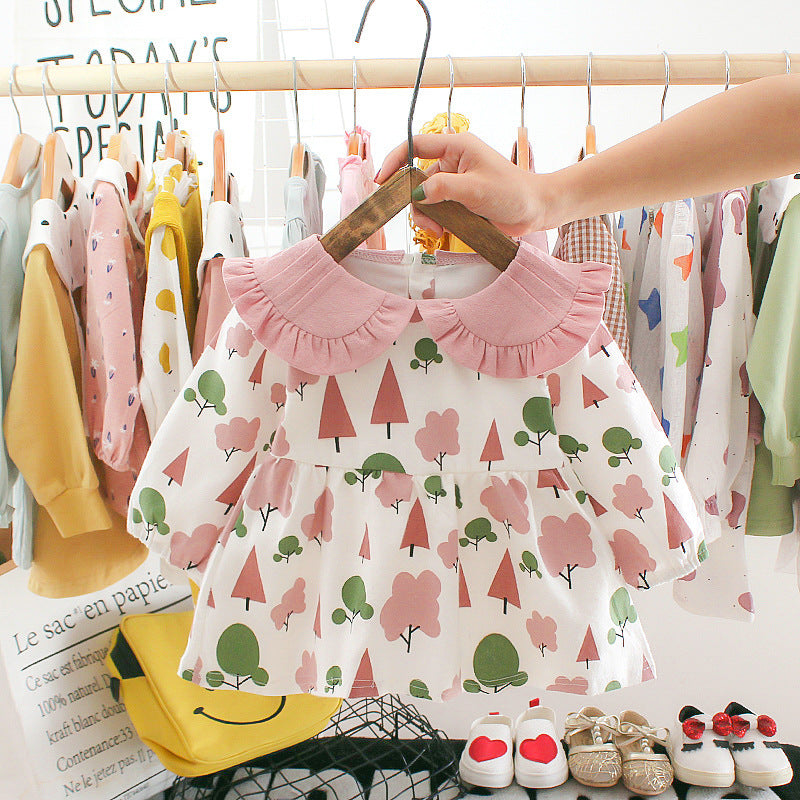 jual [352146-PINK GREEN TREE] - Dress Renda Anak Perempuan Kekinian - Motif Mixed Tree