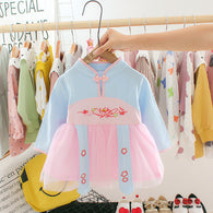 jual [352147-BLUE PINK] - Dress Shanghai Anak Perempuan Fashionable - Motif Flowers
