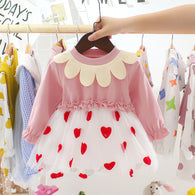 [352161-PINK] - Dress Import Anak Perempuan High Fashion - Motif Interest Collars
