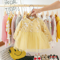 [352167-YELLOW] - Dress Import Anak Perempuan Traditional Clothes - Motif Flower Pattern