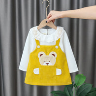 [352175-MUSTARD] - Dress Import Anak Perempuan High Fashion - Motif Large Bag Bears